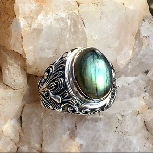 LABRADORITE embossed floral dome ring size 6.5